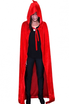 Womens Hooded Cosplay Halloween Witch Cloak Red