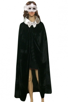 Womens Turndown Collar Bow Halloween Vampire Cloak Black