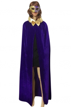 Womens Turndown Collar Bow Halloween Vampire Cloak Purple