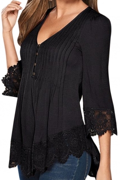 Womens V Neck Scalloped Hem Pleated Blouse Black