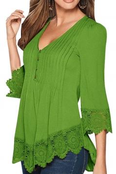 Womens V Neck Scalloped Hem Pleated Blouse Green