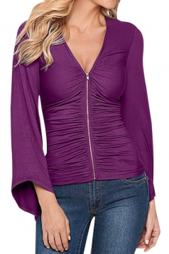 Womens Plain Zip Up Draped Long Sleeve Blouse Purple