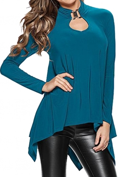 Womens Plain Cut Out Long Sleeve Asymmetric Blouse Blue