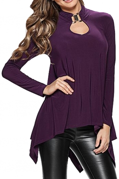 Womens Plain Cut Out Long Sleeve Asymmetric Blouse Purple