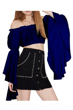 Womens Off Shoulder Flare Sleeve Plain Crop Top Sapphire Blue