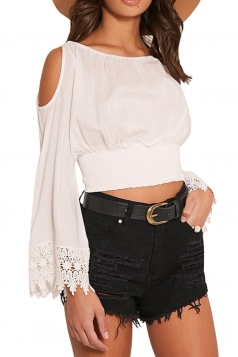 Womens Cold Shoulder Lace Trim Sleeve Plain Crop Top White