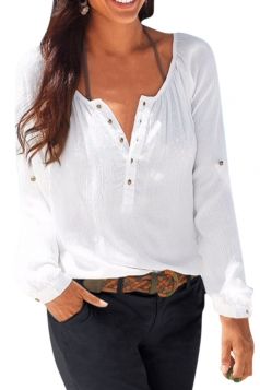 Womens Single-breasted Long Sleeve Pullover Blouse White