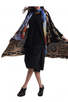 Womens Asymmetric Retro Geometric Patterned Vest Black