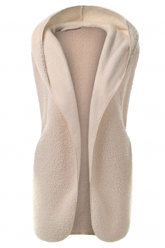 Womens Plain Hooded Warm Sleeveless Vest Apricot
