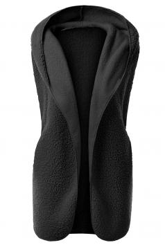 Womens Plain Hooded Warm Sleeveless Vest Black