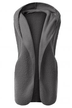 Womens Plain Hooded Warm Sleeveless Vest Dark Gray