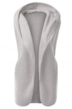Womens Plain Hooded Warm Sleeveless Vest Light Gray