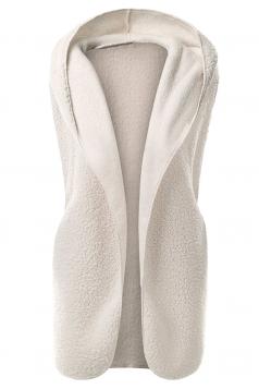 Womens Plain Hooded Warm Sleeveless Vest White