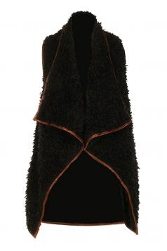 Womens Lapel Collar Asymmetric Hem Sleeveless Vest Black