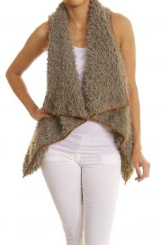 Womens Lapel Collar Asymmetric Hem Sleeveless Vest Dark Gray