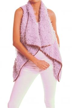Womens Lapel Collar Asymmetric Hem Sleeveless Vest Purple