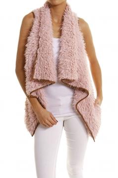 Womens Lapel Collar Asymmetric Hem Sleeveless Vest Pink