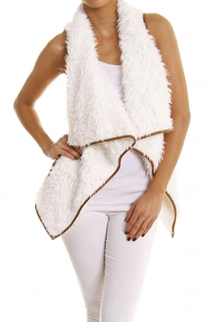 Womens Lapel Collar Asymmetric Hem Sleeveless Vest White