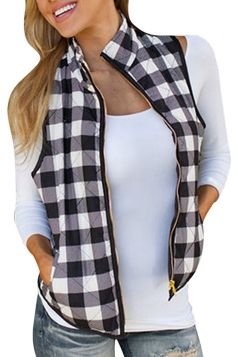 Womens Stand Collar Plaid Zip Up Short Vest White