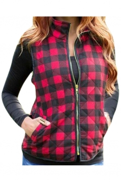 Womens Stand Collar Plaid Zip Up Short Vest Ruby