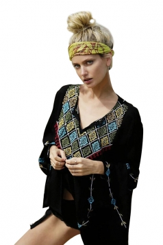 Womens Loose Embroidered Retro Long Sleeve Kimono Black