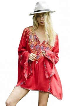 Womens Loose Embroidered Retro Long Sleeve Kimono Red