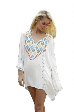 Womens Loose Embroidered Retro Long Sleeve Kimono White