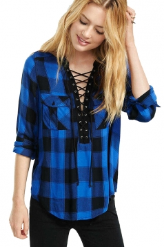 Womens Plaid Lace-up Long Sleeve Blouse Blue