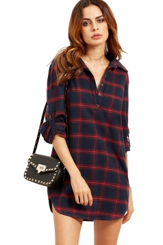 Womens Single-breasted Plaid Long Sleeve Pullover Blouse Red