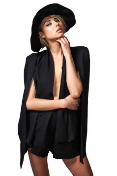 Womens Slit Long Sleeve Cape Design Plain Blazer Black