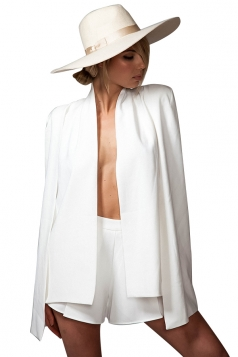 Womens Slit Long Sleeve Cape Design Plain Blazer White