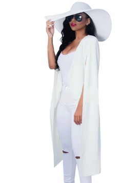 Womens Slit Sleeve Cape Design Long Plain Blazer White