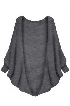 Womens Plain Batwing Long Sleeve Loose Cardigan Outwear Gray