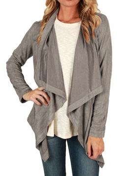 Womens Asymmetric Faux Suede Long Sleeve Plain Blazer Gray