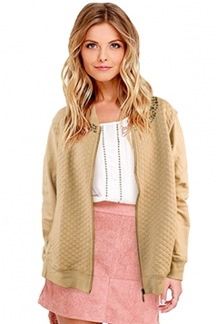 Womens Quilted Rhinestone Zip-up Long Sleeve Bomber Jacket Apricot