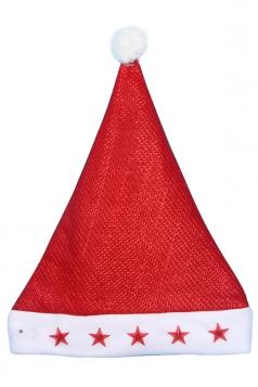 Womens Stars Applique Christmas Pom Pom Hat Red