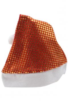 Womens Plaid Patterned Christmas Pom Pom Beanie Red