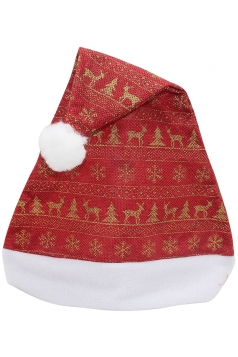 Womens Reindeer Patterned Christmas Pom Pom Beanie Red