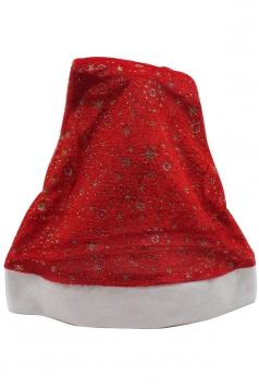 Womens Stars Patterned Christmas Pom Pom Beanie Red