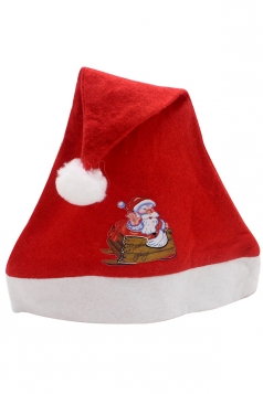 Womens Cute Christmas Santa Clause Applique Hat Red