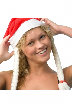 Womens Funny Christmas Hat with Braids Red