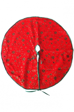 Holiday Stars Patterned Christmas Tree Skirt Red
