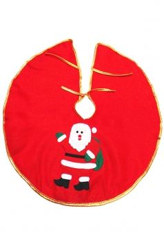 Holiday Santa Clause Patterned Christmas Tree Skirt Red