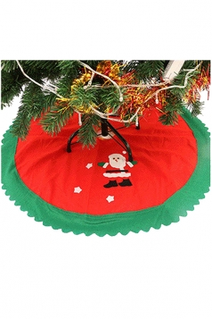 Holiday Christmas Tree Santa Clause Patterned Skirt Red