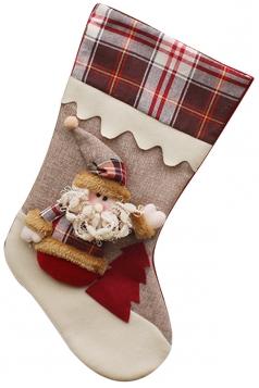 Womens Plaid Santa Clause Christmas Decoration Stocking Gray