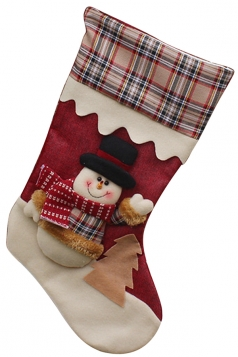 Womens Plaid Snowman Christmas Decoration Stocking Red