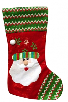 Womens Striped Santa Embroidered Christmas Stocking Green