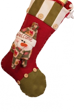 Womens Retro Buttons Christmas Decoration Stocking Green