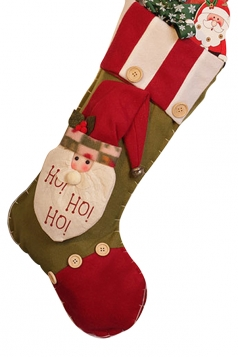 Womens Retro Buttons Christmas Decoration Stocking Red