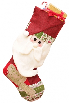 Womens Santa Embroidered Christmas Decoration Stocking Red